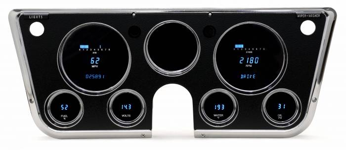 Dakota Digital - DAKVFD3-67C-PU-Z - 67-72 Chevy truck VFD gauge system w/Blue and Teal Lenses