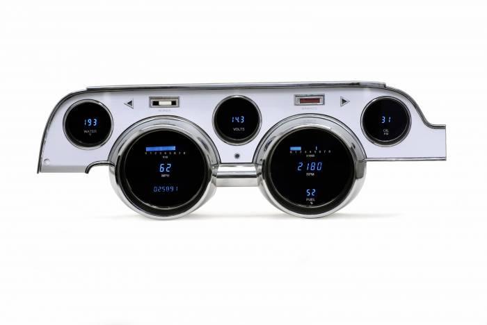 Dakota Digital - DAKVFD3-67M-A-B - 67 Ford Mustang Brushed Aluminum Bezel - Blue