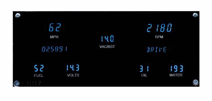 Dakota Digital - DAKVFD3-82B-REGT-Z - 84-87 Buick Regal VFD System w/ integrated vac/boost gauge w/Blue and Teal Lenses