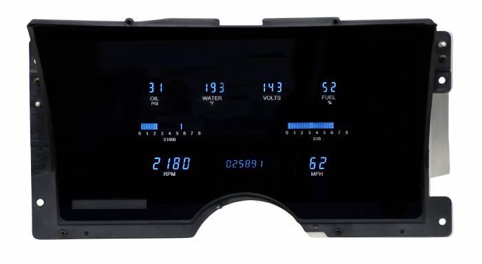 Dakota Digital - DAKVFD3-92C-PU-U-Z - 92-94 Chevy truck VFD w/new sensors, aftermarket engine w/Blue and Teal Lenses