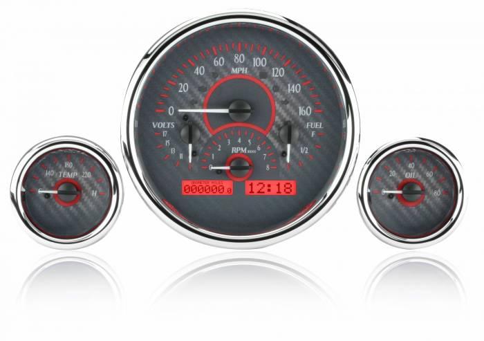 Dakota Digital - DAKVHX-1013-C-R - Triple Round Universal VHX System, Carbon Fiber Style Face, Red Display