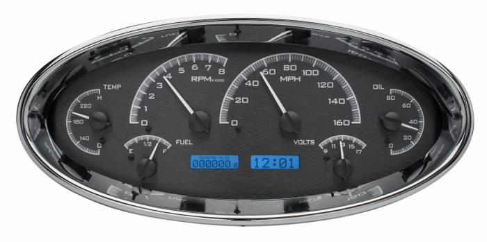 Dakota Digital - DAKVHX-1017-K-B - Universal Oval VHX System, Black Alloy Style Face, Blue Display