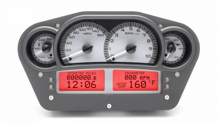 Dakota Digital - DAKVHX-1100-S-R - Race Inspired VHX System, Silver Alloy Style Face, Red Display