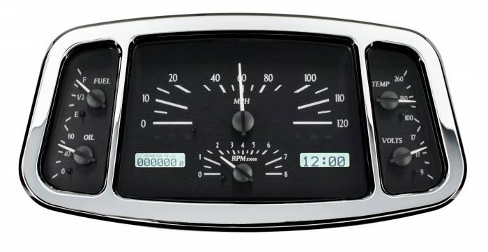 Dakota Digital - DAKVHX-33F-K-W - 1933-34 Ford Car VHX System, Black Alloy Style Face, White Display