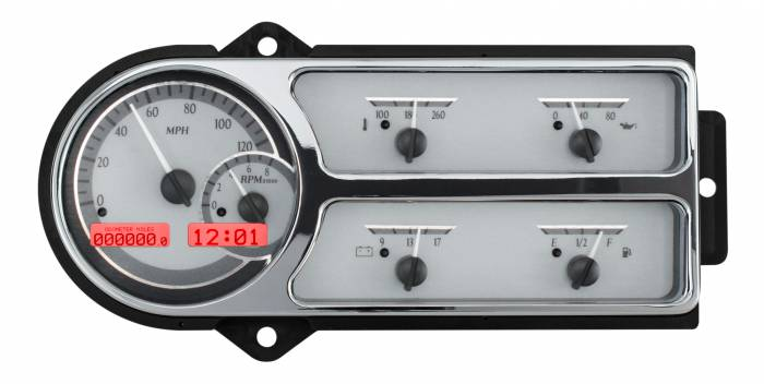 Dakota Digital - DAKVHX-48F-PU-S-R - 1948-50 Ford Truck VHX System, Silver Alloy Style Face, Red Display