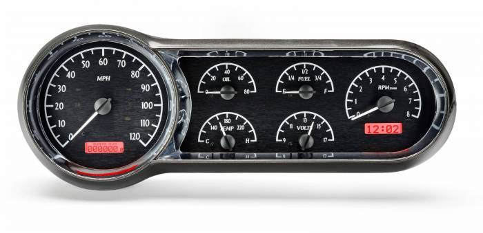 Dakota Digital - DAKVHX-53C-K-R - 1953-54 Chevy Car VHX System, Black Alloy Style Face, Red Display