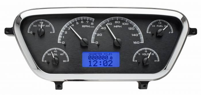 Dakota Digital - DAKVHX-53F-PU-K-B - 1953-55 Ford F100 VHX System, Black Alloy Style Face, Blue Display