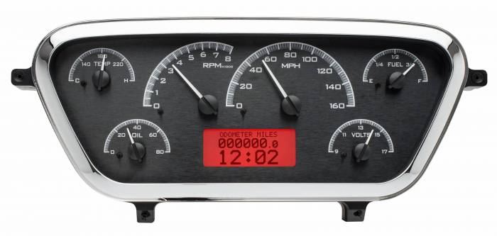 Dakota Digital - DAKVHX-53F-PU-K-R - 1953-55 Ford F100 VHX System, Black Alloy Style Face, Red Display