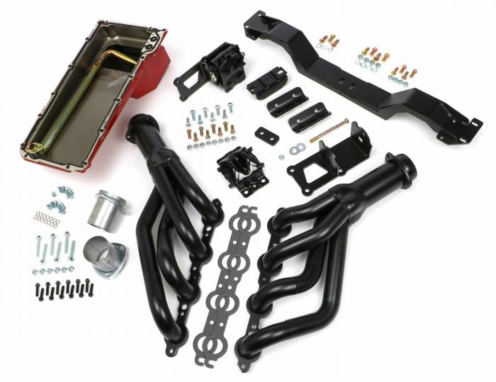 Trans-Dapt Performance Products - LS Engine Swap in a Box Kit for LS Engine into 75-81 F-Body with Manual Transmission and Black Headers TD42034
