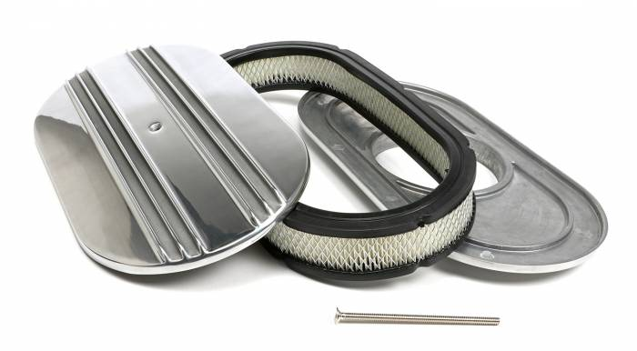 Trans-Dapt Performance Products - Trans-Dapt Performance Products Finned Aluminum Oval Air Cleaner Kit 6048