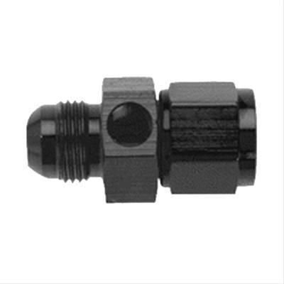 """Fragola - FRA495005-BL - Fragola Gauge Adapter,6AN Male,6AN Female,1/8"""" NPT Female On Side,Black"""