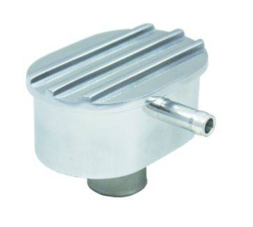 TSP - TSP-SP8487 - Oval Finned Push-In Breather with PCV, Polished Aluminum
