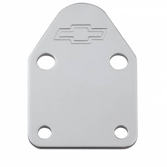 Proform Parts - Proform Parts 141-210 - SBC Fuel Pump Block-Off Plate - Chrome with Bow Tie Emblem