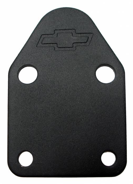 Proform Parts - Proform Parts 141-212 - SBC Fuel Pump Block-Off Plate - Black Crinkle with Bow Tie Emblem