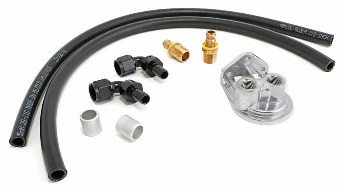 Trans-Dapt Performance Products - TD1012 - Trans Dapt Single Oil Filter Relocation Kit For LS Oil Pans with-10AN fittings-Vert Ports