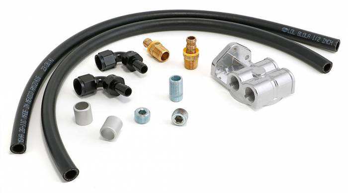 Trans-Dapt Performance Products - TD1014 - Trans-Dapt Single Oil Filter Relocation Kit For LS Oil Pans with-10AN fittings; Horizontal Port Remote Base- Cast Aluminum
