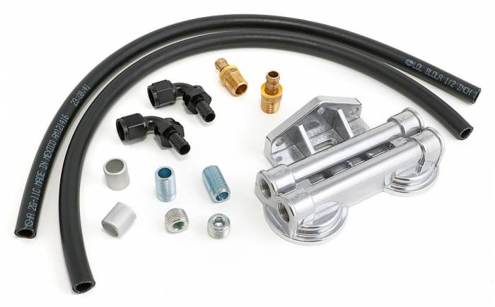 Trans-Dapt Performance Products - TD1016 - Trans-Dapt Dual Oil Filter Relocation Kit For LS Oil Pans with-10AN fittings- Cast Aluminum
