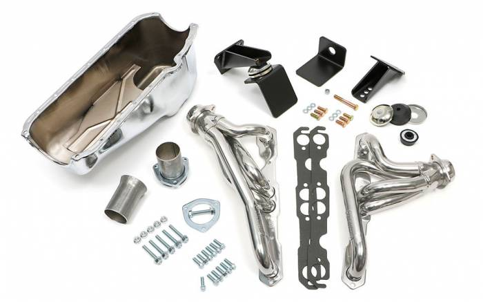 Trans-Dapt Performance Products - Jeep CJ Engine Swap In A Box Kit for 55-78 SB Chevy in 72-86 Jeep CJ with HTC Silver Headers Trans Dapt 41002