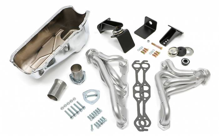Trans-Dapt Performance Products - Jeep CJ Engine Swap In A Box Kit for 55-78 SB Chevy in 72-86 Jeep CJ with Elite Heavy Duty Matte Silver Headers Trans Dapt 41004