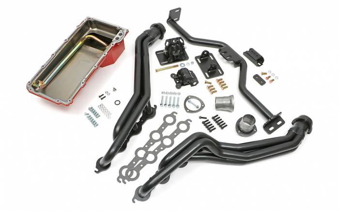 Trans-Dapt Performance Products - LS Engine Swap In A Box Kit for LS Engine in 82-04 S10 with Long Tube Uncoated Headers Trans-Dapt TD42163