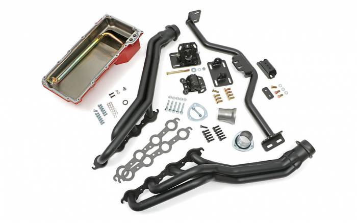 Trans-Dapt Performance Products - LS Engine Swap In A Box Kit for LS Engine in 82-04 S10 with Long Tube Headers Black Maxx Trans-Dapt TD42165
