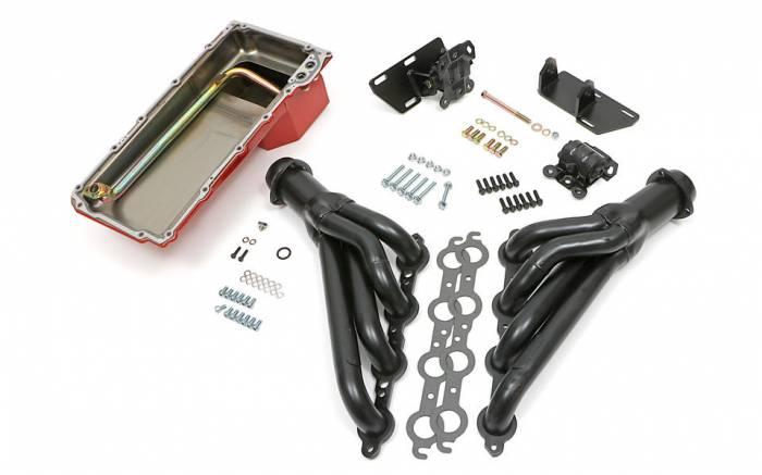 Trans-Dapt Performance Products - LS Engine Swap In A Box Kit for LS in 68-72 GM A-Body 4L60E Mid-Length Uncoated TD46001