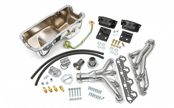 Trans-Dapt Performance Products - Engine Swap In A Box Kit for SB Ford in 83-97 Ford Ranger with HTC Silver Coated Headers Trans-Dapt TD97362