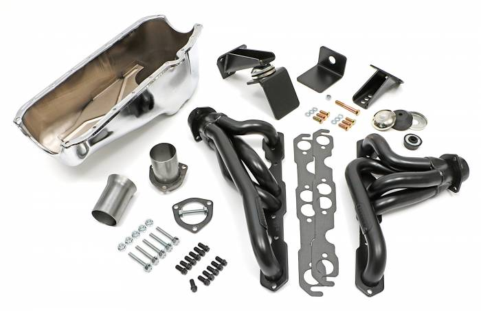 Trans-Dapt Performance Products - Jeep CJ Engine Swap In A Box Kit for 55-78 SB Chevy in 72-86 Jeep CJ with Uncoated Headers Trans Dapt 41001