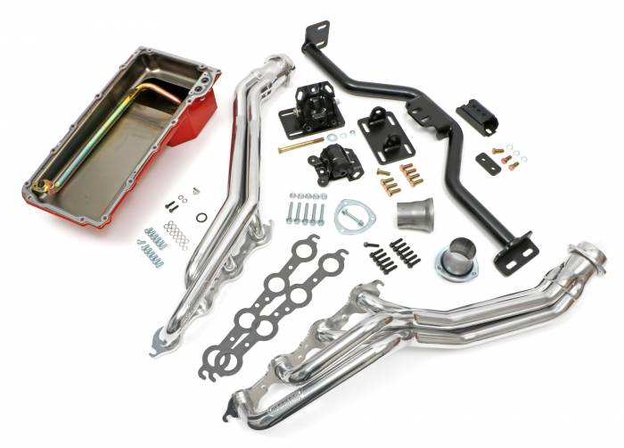 Trans-Dapt Performance Products - LS Engine Swap In A Box Kit for LS Engine in 82-04 S10 with Long Tube Headers HTC Silver Coated Trans-Dapt TD42164