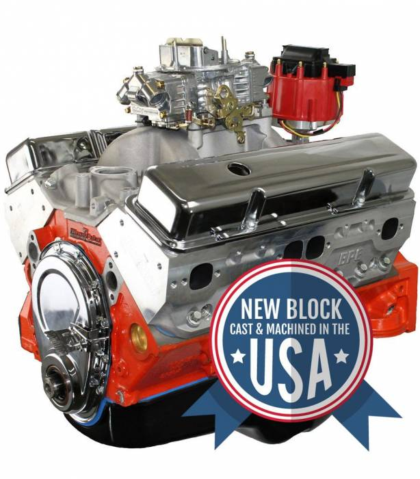 Blue Print - Small Block Crate Engine by BluePrint Engines 400CI 460 HP GM Style Dressed Longblock with Carburetor Aluminum Head  Roller Cam BP4001CTC1
