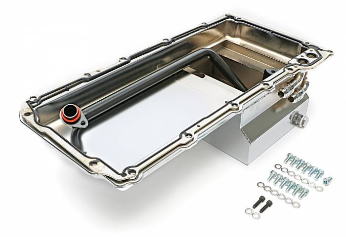 Trans-Dapt Performance Products - TD0174 - Trans Dapt LS Swap Oil Pan; 67-69 Camaro, 65-72 Chevelle, Nova; 90 Degree Fittings- Chrome