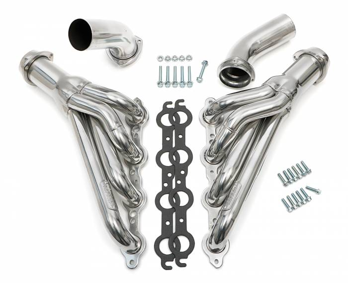 "Hedman Hedders - HD68146 - 1968-72 Chevelle/El Camino (and related A-Bodies) LS Swap Headers; Auto Transmission; 1-3/4"" Mid-length Tube; 3"" Ball/Socket Collector-HTC Silver Ceramic Coated"