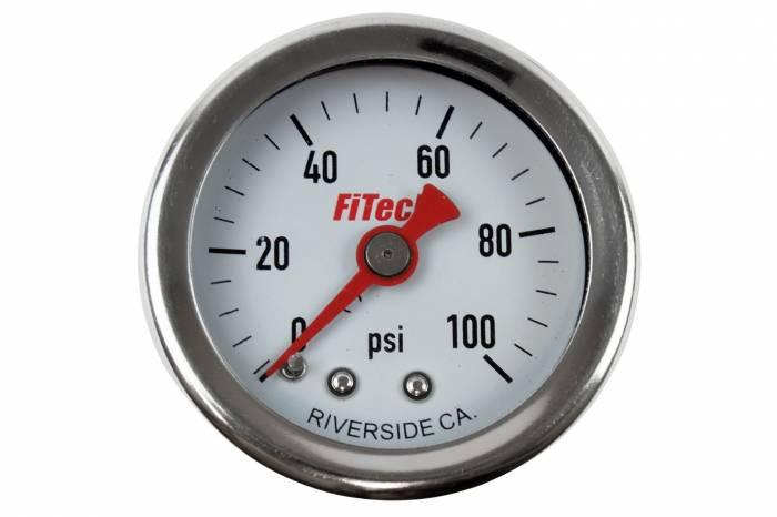 FiTech Fuel Injection - Fuel Pressure Gauge 0-100 Oil Filled Fuel Pressure Gauge Fitech 80117