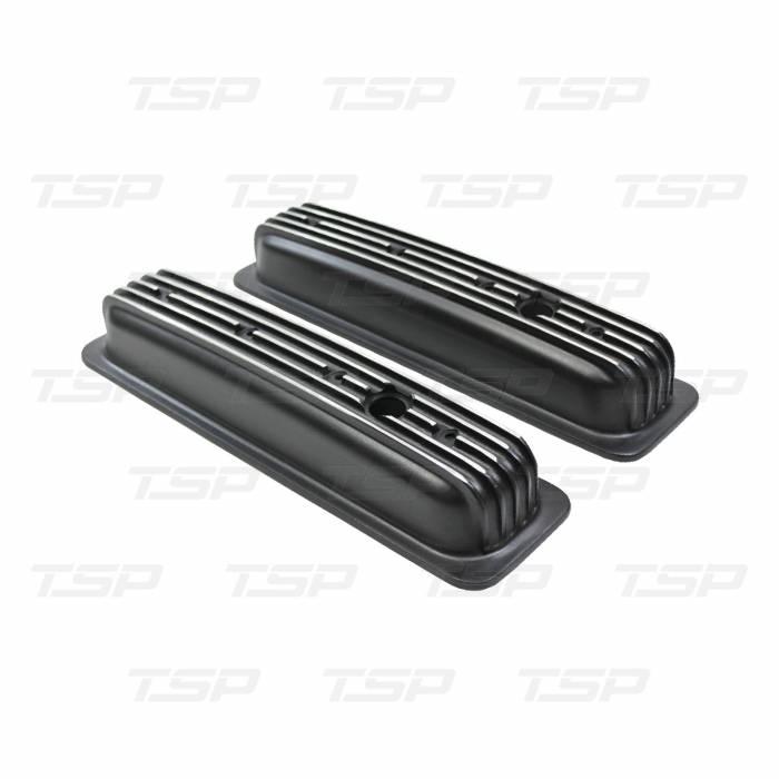 TSP - TSP-SP8527BK - SBC Finned Valve Covers, Black, Short, Center Bolt