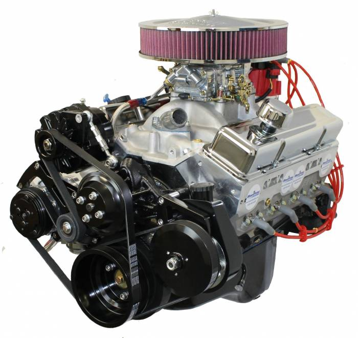 Blue Print - Small Block Crate Engine by BluePrint Engines 383 CI 430 HP GM Style Dressed Longblock with Carburetor and Serpentine System Aluminum Heads Roller Cam BP38313CTC1DK