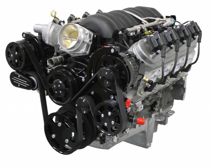 Blue Print - LS3 Crate Engine by BluePrint Engines New 376 ci LS Fuel Injected 530HP RetroFit Engine w Black Pulley Kit PSLS3760CTFKB
