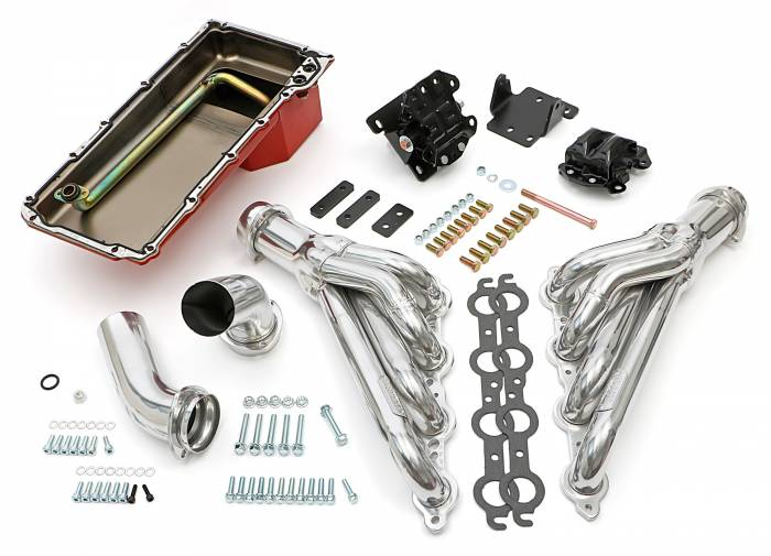 Trans-Dapt Performance Products - LS Engine Swap In A Box Kit LS in 68-72 GM A-Body 4L60E Mid-Length  HTC Silver Coated TD46002