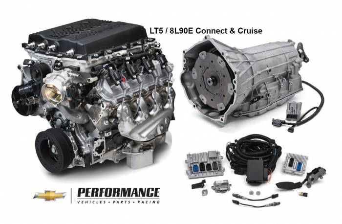 Chevrolet Performance Parts - CPSLT5D8L90E - GM LT5 755HP Dry Sump Engine with 8L90E 8-Speed Auto Transmission Combo Package