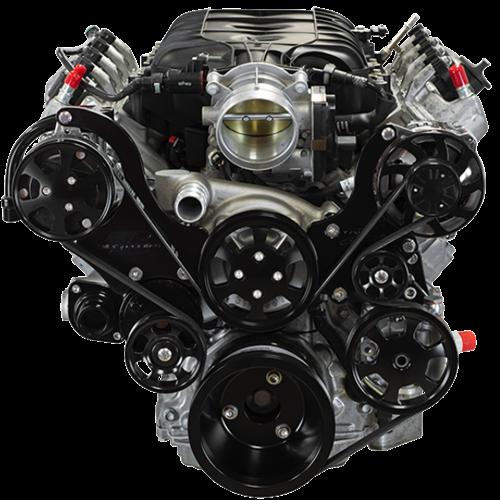 Billet Specialties - LT1 Gen V Tru Trac System with  Alternator, P/S and A/C, Black Billet Specialties BLK13550