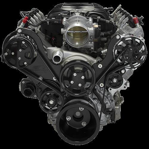 Billet Specialties - LT1 Gen V Tru Trac System Alternator and A/C, Black Billet Specialties BLK13560
