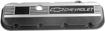 Chevrolet Performance Parts - 12495488 - Custom Cast Aluminum Valve Covers, Big Block Chevy, Black with Brushed Aluminum Finish on Top with Chevrolet Logo