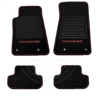 GM (General Motors) - 92221511 - 2010-14 Camaro Floor Mats, Premium Carpet, Black w/Inferno Orange Camaro Logo and Red Edging