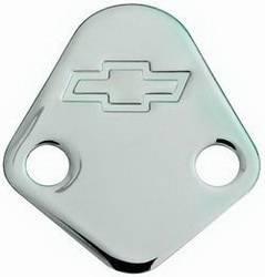 Proform - 141211 - BBC Fuel Pump Block-Off Plate - Chrome with Bow Tie Emblem