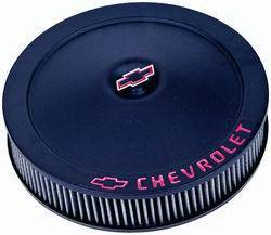 "Proform - 141752 - 14"" Classic Round Air Cleaner - Black Crinkle with Red Chevrolet and Bowtie Logo"