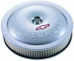 "Proform - 141693 - Super Light 14"" Classic Round Air Cleaner - Clear Anodized Aluminum with Bowtie and Cherolet Logo"