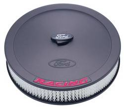 "Proform - 302352 - 13"" Round Ford Racing Air Cleaner - Black Crinkle with Red Emblems"