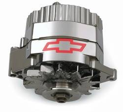 Proform - 141656 - Proform 70 AMP Chrome Alternator with Chevy Bowtie - Fits GM 73-86 with Internal Regulator