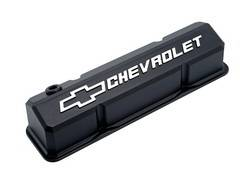Proform - 141921 -  Slant-Edge Valve Cover - SBC, Black Crinkle Die-Cast Aluminum with Raised Emblems