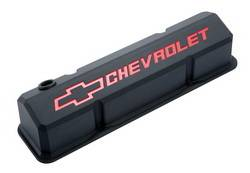 Proform - 141928 - Slant-Edge Valve Cover - SBC, Black Crinkle Die-Cast Aluminum with Recessed Red Emblems