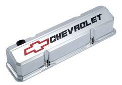 Proform - 141930 - Slant-Edge Valve Cover - SBC, Chrome Die-Cast Aluminum with Recessed Red/Black Emblem